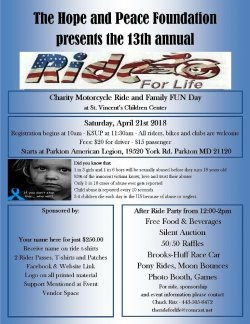 "The Hope and Peace Foundation Presents the 13th Annual ""Ride for Life"""