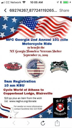 MFC Georgia 2nd Annual 102 Mile Motorcycle Ride